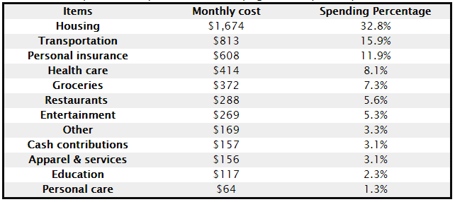 The Average Monthly Expenses of an American